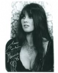 Caroline Munro signed 10 by 8 star of Dracula, Sinbad, Bond #25